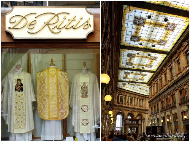 Display window of De Ritis eccelsiastical store and interior of Galleria Alberto Sordi