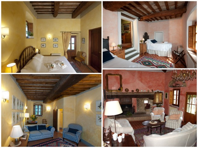 Two living areas and two of the bedrooms of La Novellina