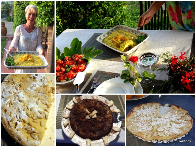 Delicious meals and pastries prepared by Monica Bartarelli at La Novellina