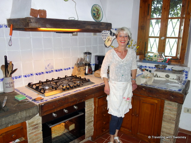 Monica in the kitchen of La Novellina