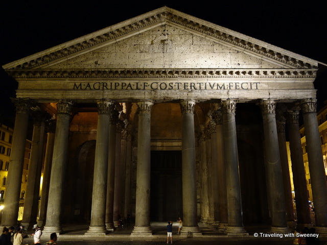 The columns of the Pantheon portico at night