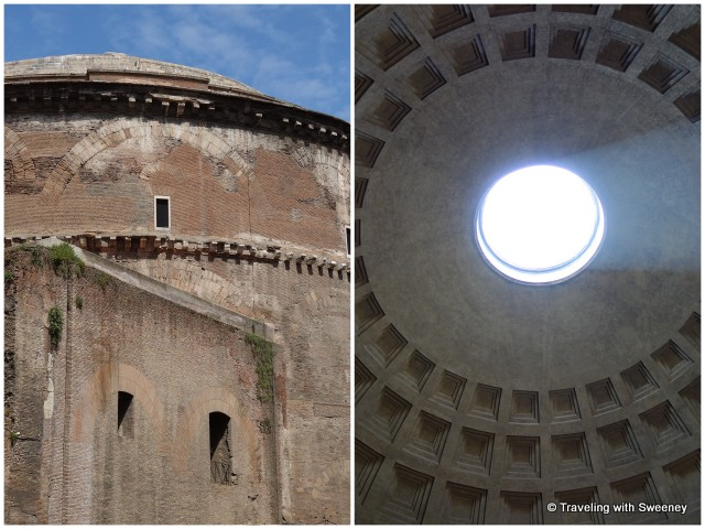 Side view of the Pantheon and the open oculus of the rotunda