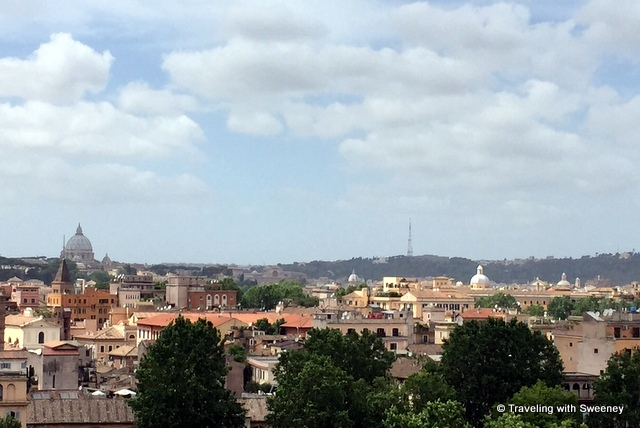 View from across the tree-lined Tiber River to the Vatican and St. Peter's Basilica