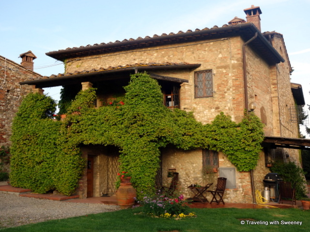 Porch and outdoor seating for enjoying the Tuscany views