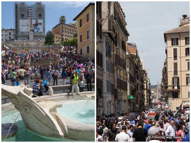 Tourists sitting on the Spanish Steps (Fontana della Barcaccia at the foot) and tourists in the Piazza di Spagna