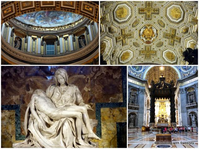 "Inside St. Peter's Basilica -- Michelangelo's ""Pieta"" bottom left"