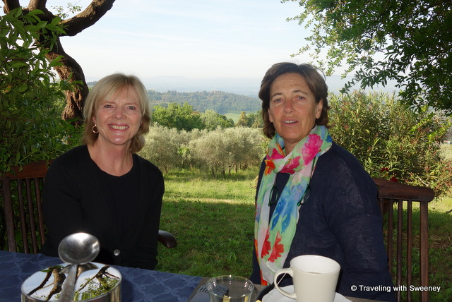 With Luisa Castiglioni on the dining terrace of La Novellina