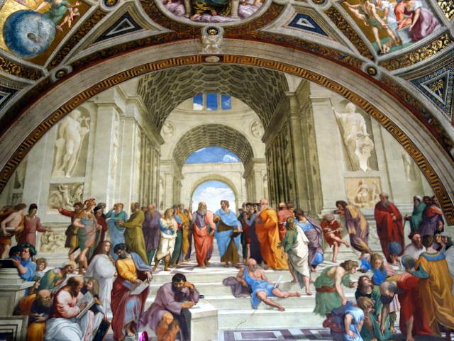 "Raphael's fresco ""The School of Athens"" (""La Scuola di Atene"") in the Segnatura Room of the Raphael Rooms"