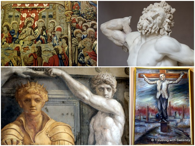 "Among the enormous collection of art in the Vatican Museums -- From bottom left: fresco in the Raphael Rooms, sculptures (partial view of the first century marble sculpture, ""Laocoön"" (top right); tapestries (""The Last Supper"") and modern religious art"