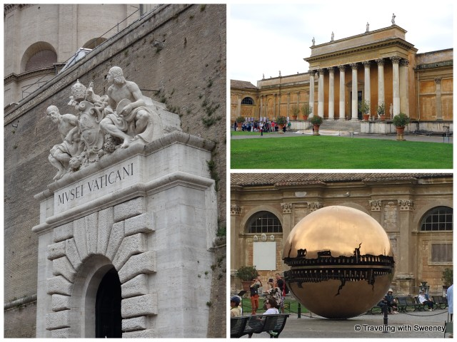 "Vatican Museums entrance, courtyard, and Arnaldo Pomodoro's ""Sphere within Sphere"" sculpture"