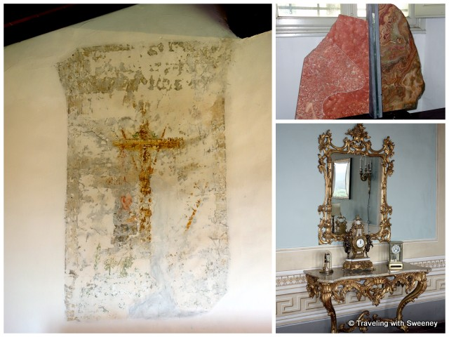 Religious fresco in old servants' quarters, art by Dini family friend, sculptor Ron Mehlman, and ornate antique furnishing