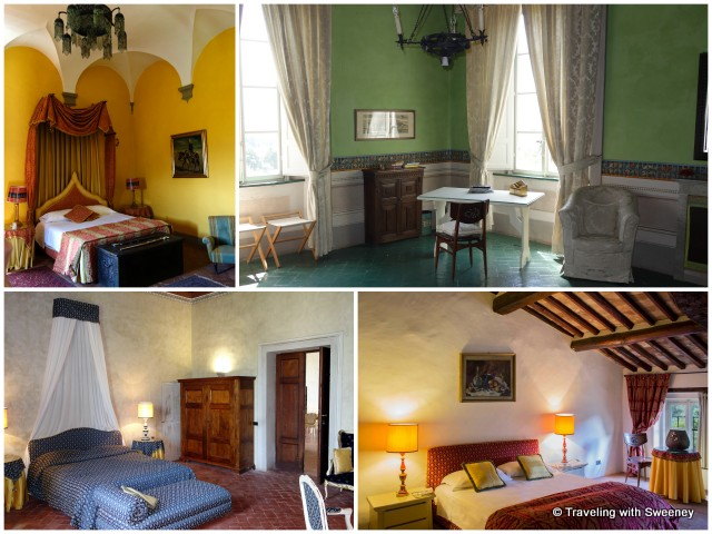 Colorful and uniquely decorated bedrooms of Villa Buonvisi