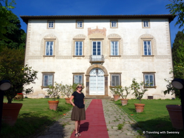 On the red carpet to the entrance of Villa Buonvisi in Lucca, one of EsteVillas luxury holiday rentals