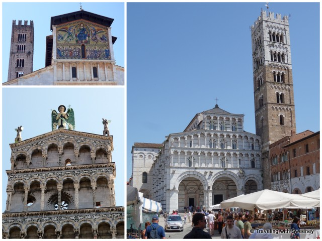 From top left: San Frediano, Duomo di San Martino, San Michele in Foro -- churches of Lucca, Italy