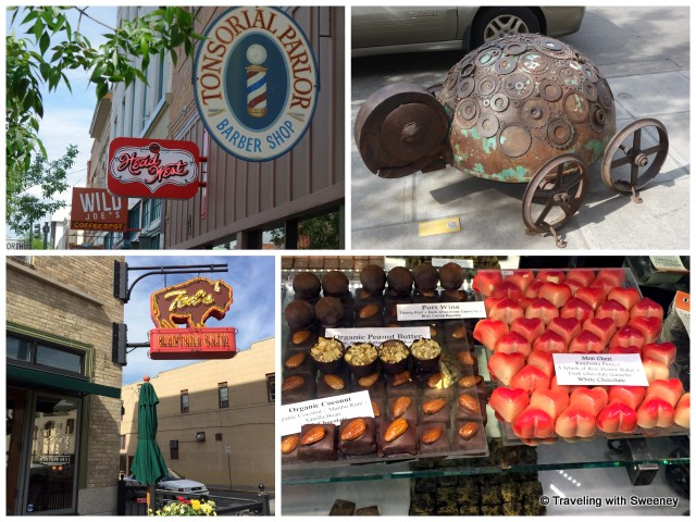 Ted's Montana Grill, shops, quirky art, and French chocolates along Main Street in Bozeman
