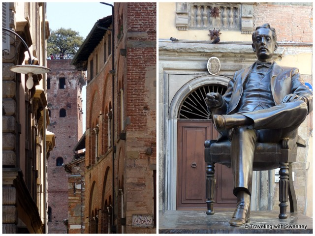 A glimpse of Tower Guinigi through the medieval buildings of Lucca; Statue of Puccini in front of the family home, now a museum