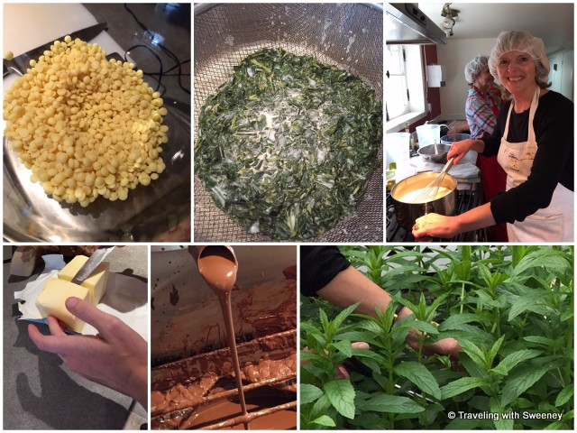 Butter, cacao chips, fresh mint --- all part of chocolate making at La Fée Gourmande