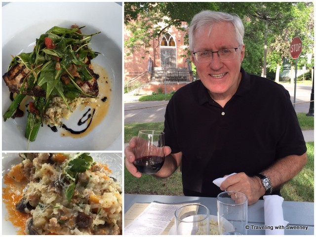 Mr. TWS enjoying a Napa Valley Cabernet and swordfish special (top); My risotto with sausage (bottom) at Emerson Grill in Bozeman, Montana