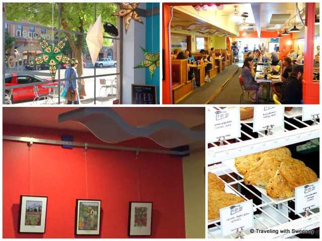 Lively and colorful Nova Cafe with displays of art by local artists
