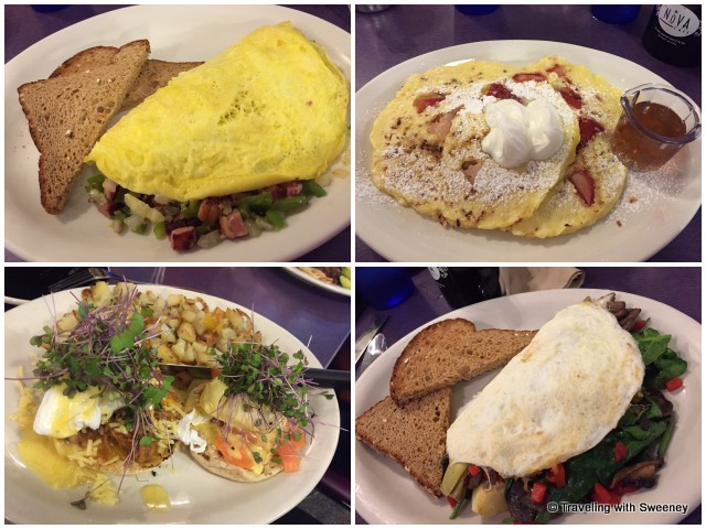 A few of the breakfast options at The Nova Cafe: Western Omelet;cottage cheese strawberry rhubarb pancakes; Forager omelet (with egg whites); and combo pulled pork and lox Eggs Benedict