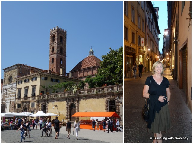 Shoppers and browsers at one of the venues of the monthly Antiques Market; Taking an evening stroll along one of Lucca's charming streets
