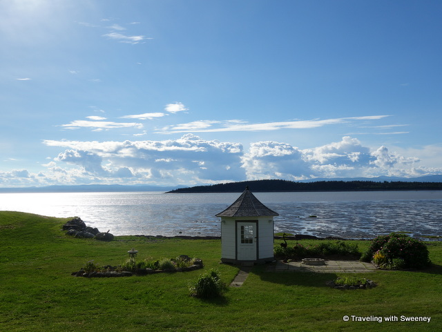 View of the St. Lawrence River and Kamouraska Islands from the terrace of Côté Est in the late afternoon