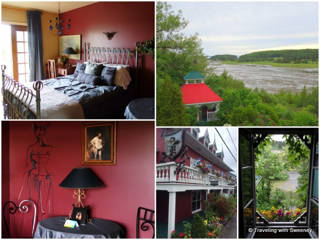 Auberge du Mange Grenouille -- Left: my uniquely-decorated room; Right: Views from my room and inn exterior