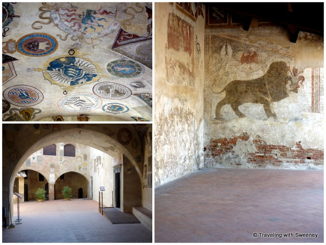 A peek inside the Palazzo Pretorio of murals on the ceilings and walls