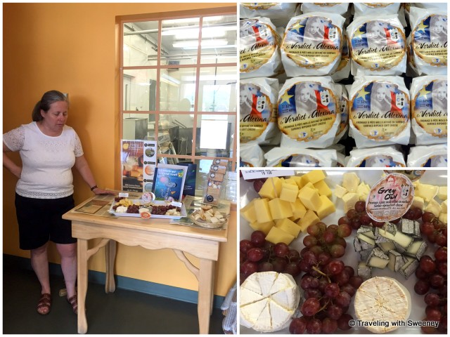 Ginette Bégin, owner of Fromagerie Le Détour in Témiscouata-sur-le-Lac (Notre-Dame-du-Lac), describing cheese selections