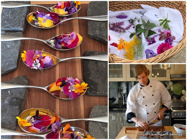 """Métis Bloom Spoon"", a fresh and aromatic treat created by Chef Ferry with edible flowers that we picked from the garden, Reford Gardens in Grand-Metis, Quebec"