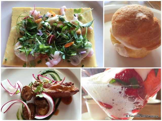 Brunch at Estevan Lodge: Omelette with chives, northern shrimp, geranium mayonnaise (top left); Homemade maple ham, grilled tomatoes, mustard sprouts (bottom left); desserts