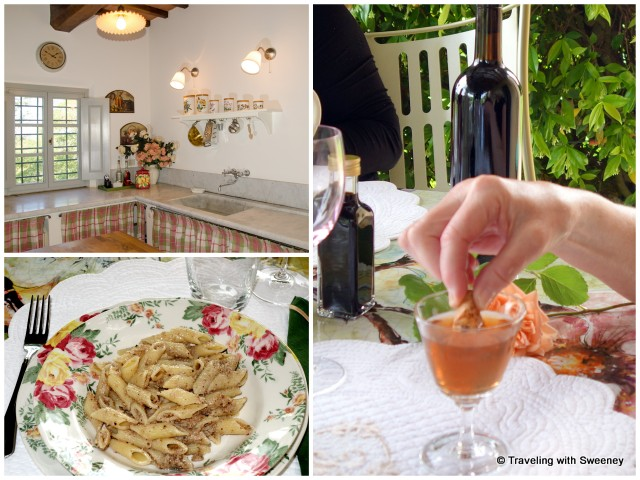 Bright and airy kitchen; lunch of pasta with walnut sauce followed by biscotti and Vin Santo