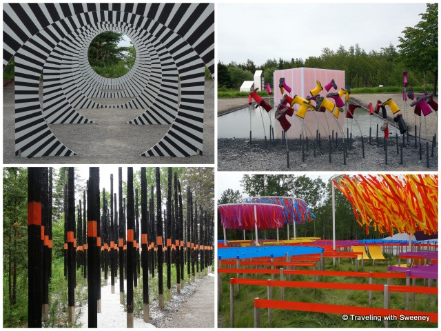 "Selected works from the 16th International Garden Festival from top left: ""Making Circles in the Water"", ""Se mouiller (la belle échappée), ""Line Garden"", and ""Afterburn"" -- Reford Gardens, Gran-Metis, Quebec"