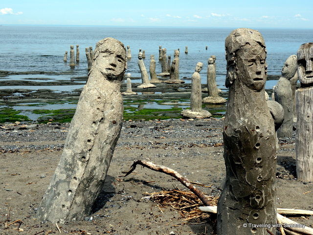 """Le Grand Rassemblement"" (""The Great Gathering""), sculptures on the St. Lawrence River shoreline at Saint-Flavie, Quebec"
