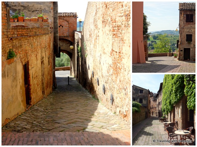 Left: A vicolo in Certaldo with potted plants on the ledge of the left wall Right: Views of the Tuscan countryside between two buildings
