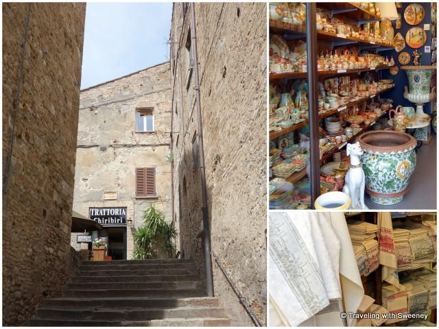 Scenes along Via Giovanni: Piazza della Madonna (left), ceramics and gift shops (right)