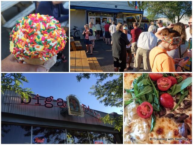 Top: Big Dipper Ice Cream; Bottom: Biga Pizza