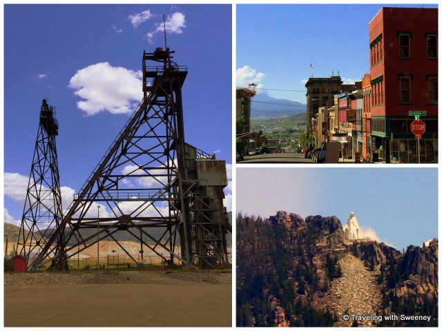 "Iconic scenes of Butte, Montana: headframes, historic ""Uptown"", and and ""Our Lady of the Rockies"" statue atop the Continental Divide overlooking Butte"