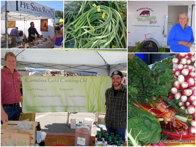 Vendors and produce at the Clark Fork River Market
