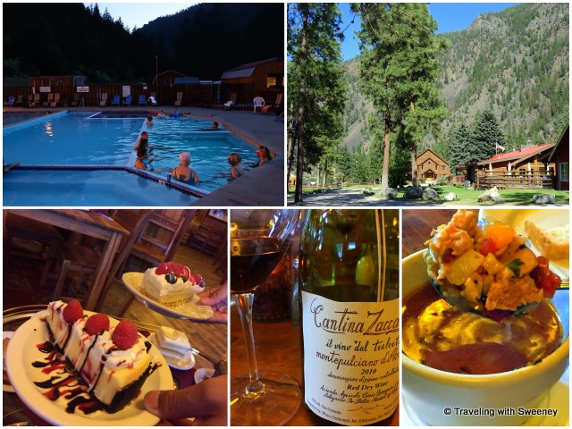 Top: Quinn's Hot Springs Resort setting and one of 6 soaking and swimming pools Bottom: Sampling of desserts, wine and the evening's special clam chowder