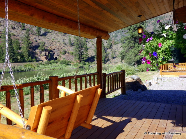 From the porch of our cabin at Quinn's Hot Springs Resort overlooking the Clark Fork River in Paradise, Montana