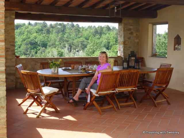 Enjoying refreshments on the terrace of Casa Mattei