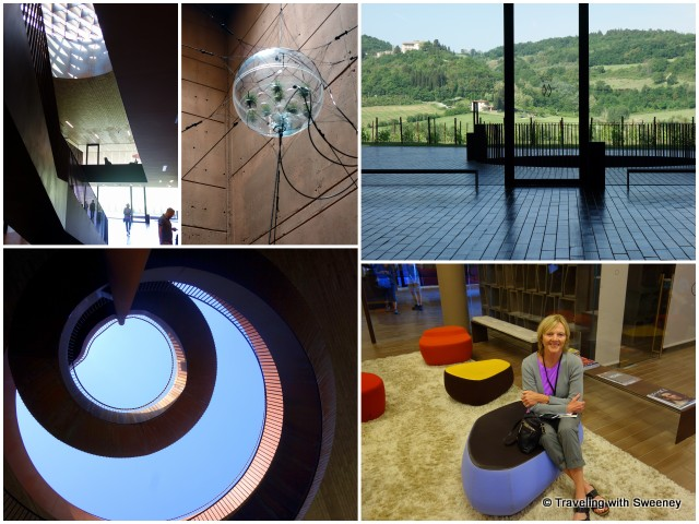 "Innovative architecture and design of Cantine Antinori -- From top left: A circular skylight fills the lobby with light; ""Biosphere 06"" art by Tomás Saraceno installed in cellar stairway; ; views of Tuscan hills from lobby; soft and colorful seating in lounge area; looking up through the spiral staircase from the parking lot"