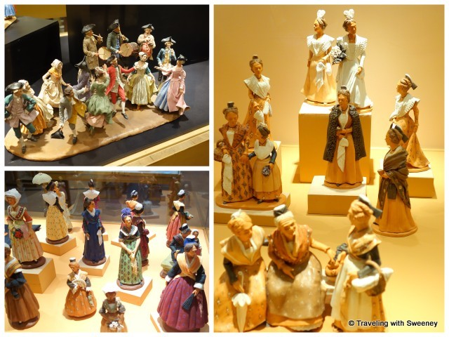 Santons created by Liliane Guiomar (top left) and Henri Vezolles (bottom left and right) and at International Fair of Santon-Makers in Arles, France