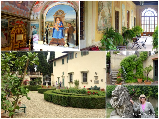 Lovely gardens and exterior of Borgorosa (Villa Caserotta); top left-- private chapel with Renaissance frescoes; top right-- elegant loggia for weddings and receptions