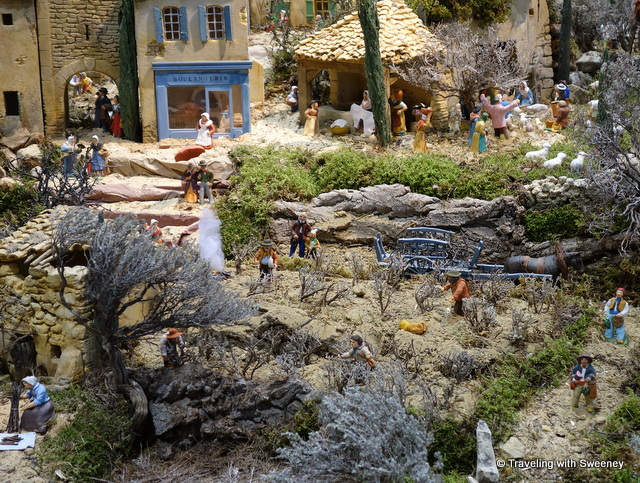Large crèche on display in the Carpentras, France tourism office (2014)