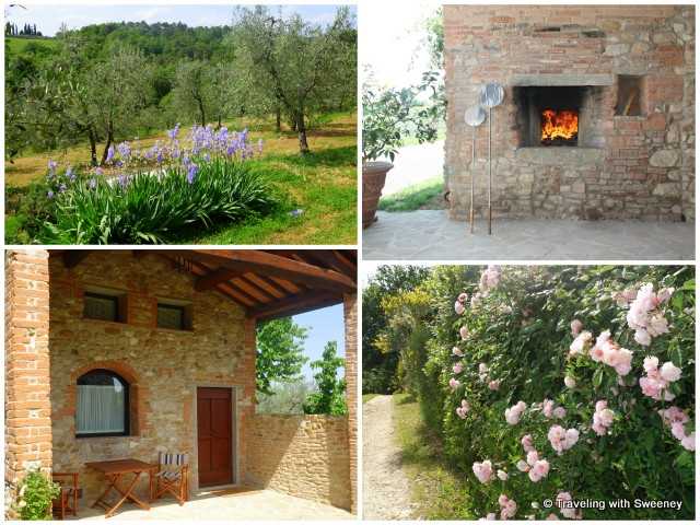 Olive trees and flowers on the grounds; outdoor pizza oven (top right); separate unit (bottom left) at Casa Mattei villa in San Casciano, Italy