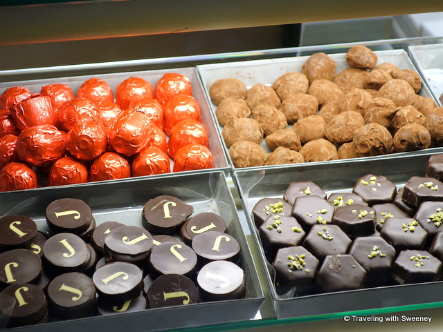 Chocolate truffles at Pâtisserie Jouvaud in Carpentras, Provence, France