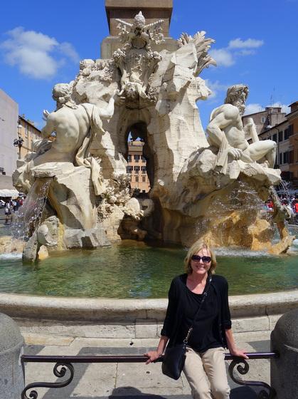 Fontana dei Quattro Fiumi (Fountain of the Four Rivers) on Piazza Navona in Rome, Italy
