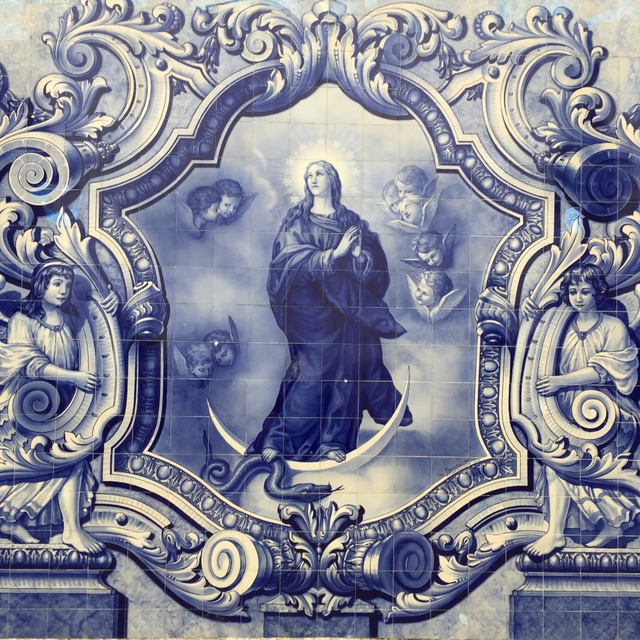Azulejo tiles on the grand baroque staircase in Lamego
